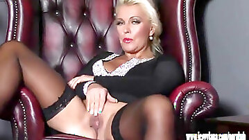 Horny blonde Milf finger fucks tight humid cootchie in nylons after tryst night
