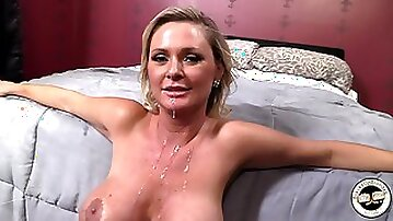 Busty blonde mom Allison Kilgore strokes her big boobs in the shower