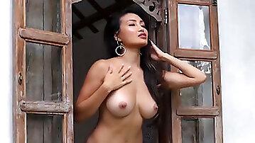 Glamorous asian and abony babes sensual striptease