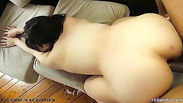 Lonely she-creature boned by a big black cock