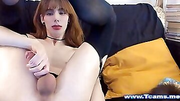 Hot But Cute Tgirl jerking Off On Webcam show