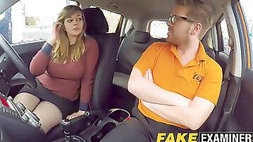 Curvy UK skank Madison Stuart plumbed at driving school car