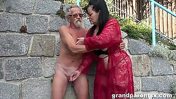 Young girl joins a much-older daring lady for a public fourway fuck