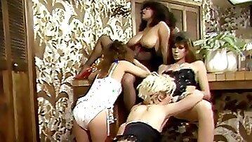 Chicks in stunning lingerie group eating