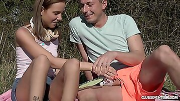 Picnic in the wild nature turns to sex adventure for horny Poppy Pleasure
