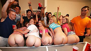 Crazy hot sexy coeds with their asses around the dorm