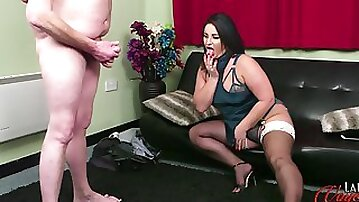 Nicola Kiss watches a man with a small dick masturbate for her