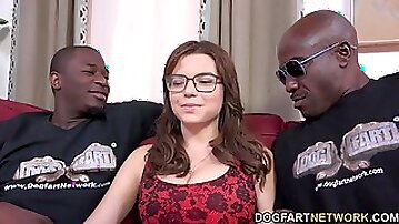 Brunette mature l casting with two monster cocks