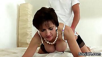 Cheating uk milf lady sonia flashes her monster knocker