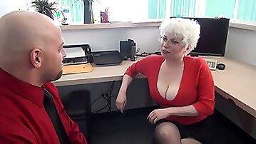 Milf Huge Tits Office Handjob