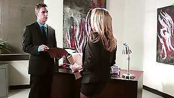 Secretary Devon gets to suck & fuck her two bosses by turns at work