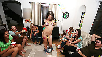 Hot college girls gets an anal plug action at the dorm party