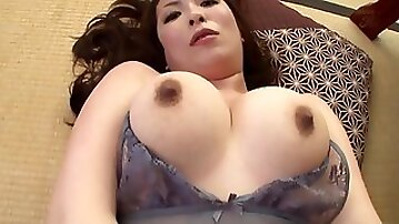 Japanese mom Aoi Aoyama gives handjob, blowjob and ass fingering her lover