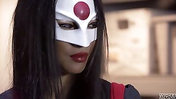 Masked Asian slut Asa loves it when her bunghole is drilled with a BBC