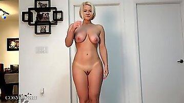 Blonde girl next door Katie Katies Yoga Session - big ass and big natural tits
