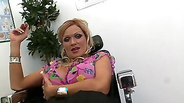 Clothed mature with huge jugs, insane porn at the office