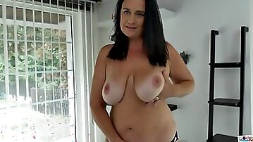 Hot chubby MILF plays with her big natural tits