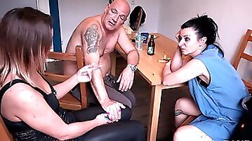 Horny wife Natalie Hot fucks in a threesome at the living room table
