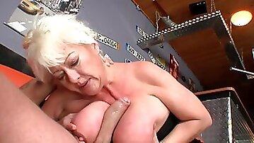 Fat mature blonde Dora fucks with big dick