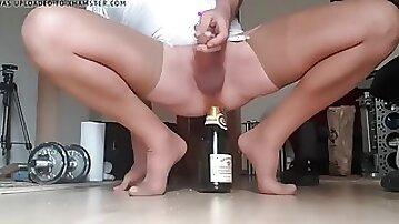 Crossdresser Lingerie Bottle Sextoy Dildo Stocking Fuck