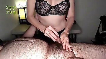 Busty masseuse strokes hairy dude's small cock till he cums