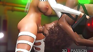 3DXPASSION - Super Hot alien dickgirl plows stiff a dark-hued dame in restraints on the exoplanet. Pulverizing machine