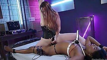 Ebony babe Yara Skye tied up and dominated by lesbian femdom Bella Ross