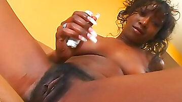Hairy black girl licked and fucked hardcore