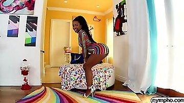 Ebony babe Demi Sutra gets pounded hard