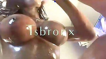 Ebony Hooker Has Huge Cock and Boobs
