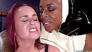 Ebony nun anal fucks huge tits lesbian