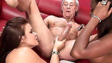 Interracial brunette girlfriends share old mans dick