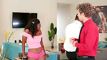 Young ebony Daizy Cooper having fun with her dads employee