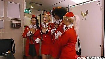 Horny stewardess are spying their curly girlfriend hotly fucking ion bathroom