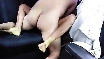 Boy Barebacks and Creampies Latina Prostitute in his Backseat