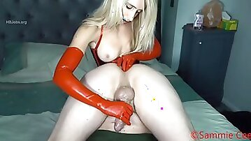 Red latex glove anal fingering & handjob