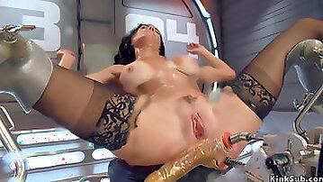 Busty brunette takes monster dildo machine