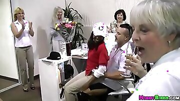 Drinking in the office turns into wild group fucking