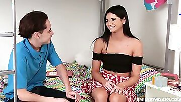 Yummy teen with juicy ass Violet Rain gets intimate with her spoiled stepbrother