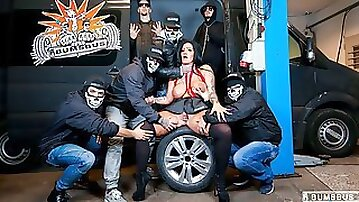 Wild gangbang in the bus with hot busty German brunette Ashley Cumstar