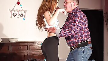 Skinny young girl seduces fat old man and he fucks