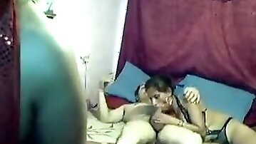 Mature threesome with two paid whores