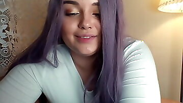 Young kinky PAWG with purple hair teasing on webcam