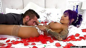 Busty latina transsexual bride Foxxy sucked off n barebacked