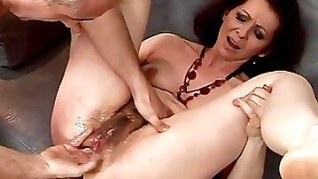Hungarian retro milf gets fucked in the ass and pussy with dildo toy