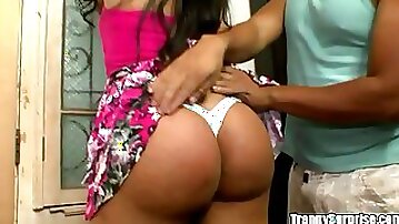 Anal pleasire for the big booty shemale Camila Almeida