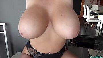 Vivian Blush erotic solo in bathroom - Juicy monster tits