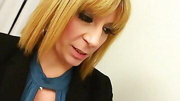Office blonde slut fucks with BBC