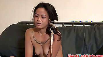 Small tits babe restrained and dominated