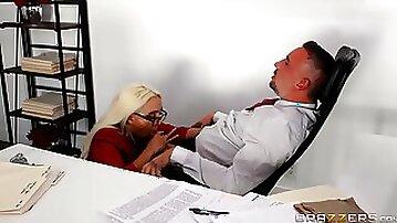 Secretary sure loves pleasing her boss with insane sex